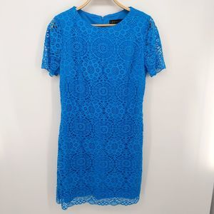 Laundry By Shelli Segal Blue Lace Cocktail Dress
